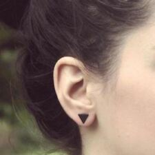 Fashion Jewelry Black Silver Color Alloy Punk Triangle Round Flash Stud Earrings