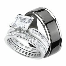 His and Hers Wedding Ring Set Black Titanium Silver Bands for Him Her