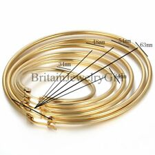Fashion Women's Stainless Steel Gold Tone Big Round Circle Dangle Hoop Earrings