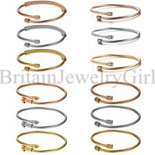 3PCS Fashion Womens Ladies Stainless Steel Cable Wire Twisted Cuff Bracelet Set