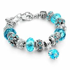 New Crystal Beads Bracelets Bangles Silver Plated Charm Bracelets For Women Frie