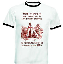 AMERICAN NATIVE INDIAN HATE YOU - NEW BLACK RINGER COTTON TSHIRT