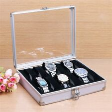 12 Grid Slots Jewelry Watches Display Storage Box Case Aluminium Square LT