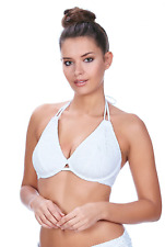 Freya Sundance Underwire Bandless Halter Bikini Top in White (AS3971)