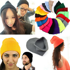 Fashion Unisex Winter Warm Visor Beanie Knit Soft Hat Crochet Men Women Ski Cap