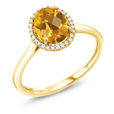 1.25 Ct Oval Checkerboard Yellow Citrine 10K Yellow Gold Diamond Ring