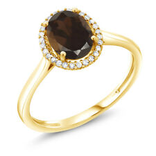 1.20 Ct Oval Brown Smoky Quartz 10K Yellow Gold Diamond Ring