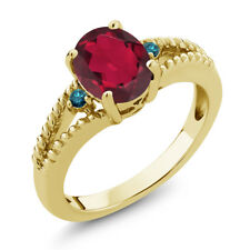 1.85 Ct Oval Red Mystic Quartz Blue Diamond 18K Yellow Gold Plated Silver Ring