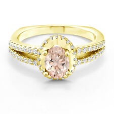 1.15 Ct Oval Peach Morganite 18K Yellow Gold Plated Silver Ring