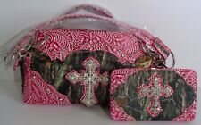 Camo Western-Style Rhinestone Cross Purse/Handbag with Matching Wallet