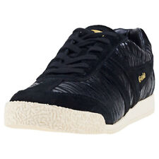 Gola Harrier Zebra Womens Black Suede Casual Trainers Lace-up Genuine Shoes