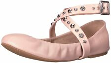 Steve Madden Womens Mollie Leather Closed Toe Ankle Strap Ballet Flats