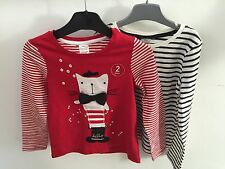 ex NEXT 2 PACK Red and White / Black and White Striped For Kids Top T Shirt Tee