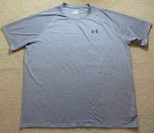 Under Armour Heat Gear Loose Fit Gray Stripe Athletic Tee Shirt Men's Size XXL