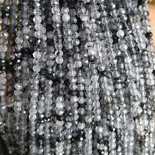 """Natural Rutilated Quartz Gemstone Beads Rondelle Faceted 13"""" Strand Beads"""