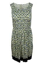 Max Studio Blue Yellow Floral Print Smocked Fit And Flare Jersey Dress $118 NWT