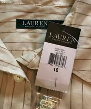 NWT RALPH LAUREN Womens Beige Linen Striped Silk Blend Jacket Shirt Blouse $198