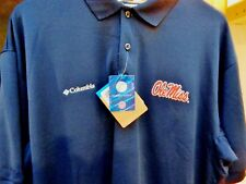 Men shirt Old MISS college M L top Columbia NCAA Rebels $55 Navy red FREE S&H