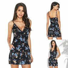 Lady Skinny Jumpsuit Lace Plunge V Neck Slip Slim Fit Playsuit Evening Party