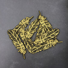 Gold Feather Bird Embroidered Iron On or Sew On Patch DIY