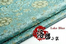 Jacquard Brocade Satin Faux Silk Fabric Lotus Floral Vintage Costume Upholstery