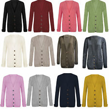 Women Ladies Long Sleeve 5 Button Top Chunky Aran Cable Knitted Grandad Cardigan