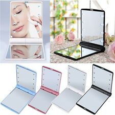LED Make Up Mirror Cosmetic Mirror Folding Portable Compact Pocket YX
