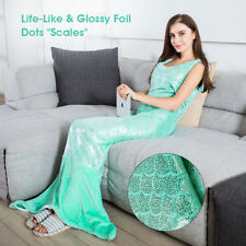 "LANGRIA Mermaid Tail Blanket Flannel Snuggle Blanket with 4 Straps 67"" x 25"" US"