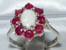 Luxury Ladies Solid 925 Sterling Silver Natural Opal & Ruby Cluster Ring
