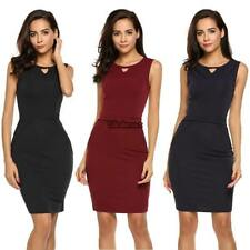 Women Sleeveless Package Hip Ruched Knee Pencil Dress Slim OL Party ES88