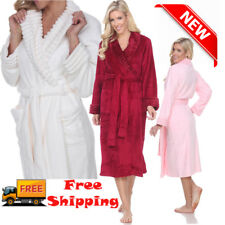 Womens Bathrobe Towel Hotel Spa Robe Shower Soft Plush Ankle Length Long Sleeve