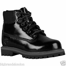 Timberland 3784  6 Inch Premium Waterproof Black Patent Toddlers Kids Boots