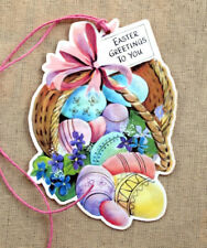 Hang Tags RETRO BASKET FILLED WITH COLORED EASTER EGGS TAGS #152 Gift Tags