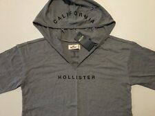 Abercrombie & Fitch Hollister T-Shirt Women's Hooded Logo Tee Top XS Grey NWT