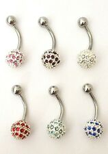 925 Sterling Silver CZ Pave Disco Ball Curved Surgical Spinal Navel Belly Ring