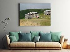 Framed Canvas Stretched Print Fog Cottage Countryside Mountains