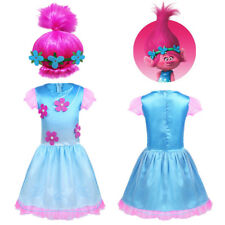 Children Girls Trolls Costume Kids Baby Party Cosplay Fancy Dress Outfit Wig Set
