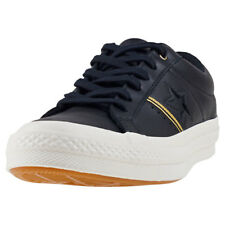 Converse One Star Ox Womens Black Gold Leather Trainers
