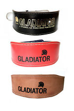 """Weight Lifting Belts 6"""" Pads Leather XS S M L XL Red Blue Black Tan"""