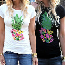Women Casual Fashion Cotton Hot Pineapple Printing Top Short Sleeve T-Shirt Tops
