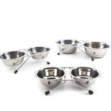 Pet Dog Bowls Stainless Steel Puppy Feeder Double Food Feeding Bowl Water Dish