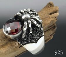 STERLING 925 SILVER HANDCFAFT MENS JEWELRY FACATED RED RUBY MEN'S RING