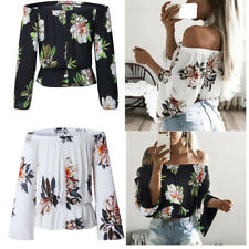 Off Shoulder Floral Printed Strapless Shirt Women Fashion Sexy Tops Blouse