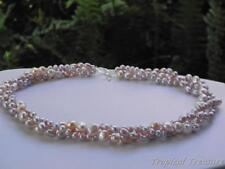 Lilac 3-Row Freshwater Pearl Necklace - 925 SOLID Silver clasp