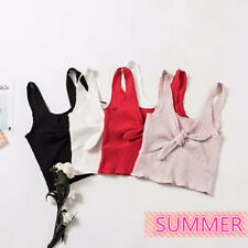 HOT Girls Sexy Tank Crop Top V-Neck Sleeveless T-Shirt Bowknot Front Casual Chic