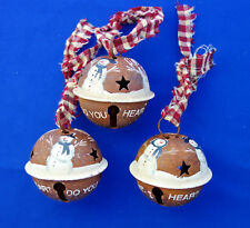 "Christmas ornament lot of 3 snowman 2½""  jingle bell hand painted"