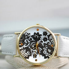 New Womens Round-Lace-Printed-Faux-Leather-Quartz-Analog-Dress-Wrist-Watch Nice