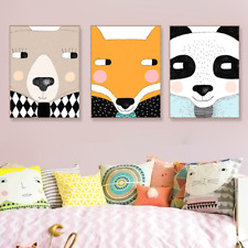 3PCS Cute Animal Face Panda Bear Fox Canvas Big Art Poster Prints Wall Pictures