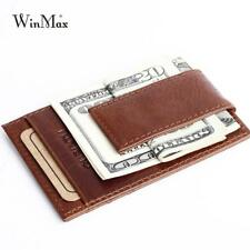 Mens Genuine Leather Luxury Money Clip Wallet Clamp For Credit Card Holder