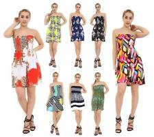 Womens Ladies Floral Pattern Bandeau Boobtube Sheering Bust Mini Dress Top Tunic